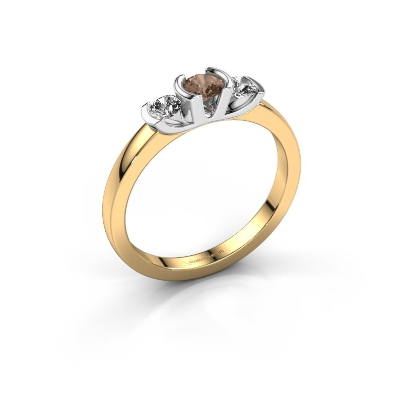 Bague Lucia 585 or jaune diamant brun 0.40 crt