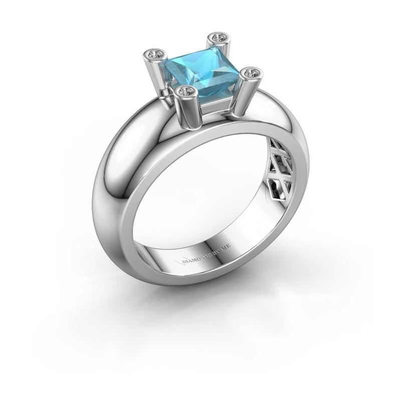 Ring Cornelia Square 585 Weißgold Blau Topas 5 mm