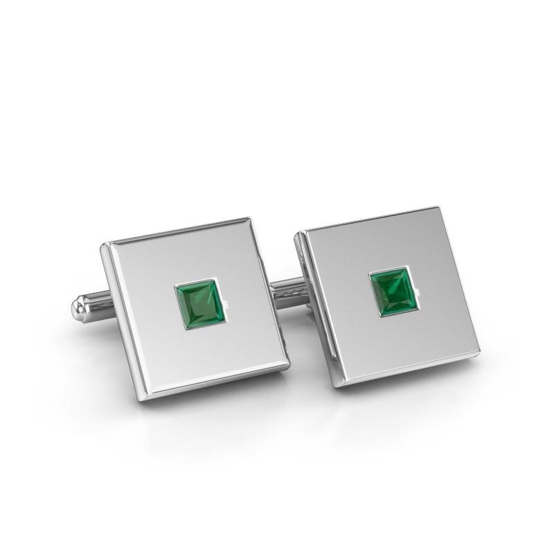 Cufflinks Givanti 925 silver emerald 4 mm