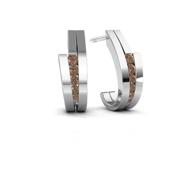 Oorbellen Cato 925 zilver bruine diamant 0.25 crt