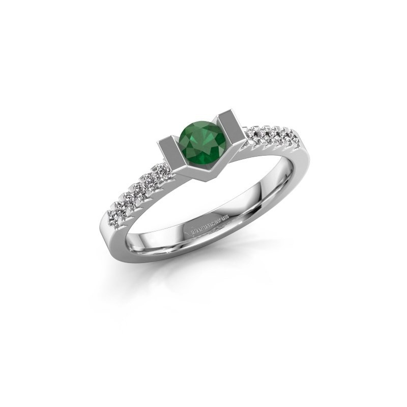Verlovingsring Sherley 2 950 platina smaragd 4 mm