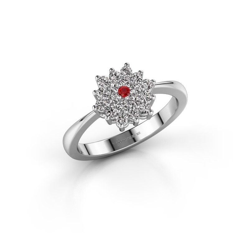 Engagement ring Vickey 1 585 white gold ruby 1.8 mm