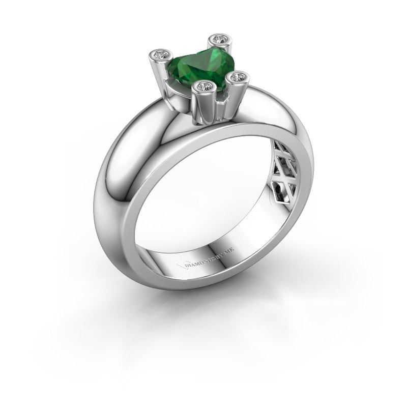 Ring Cornelia Heart 585 white gold emerald 6 mm