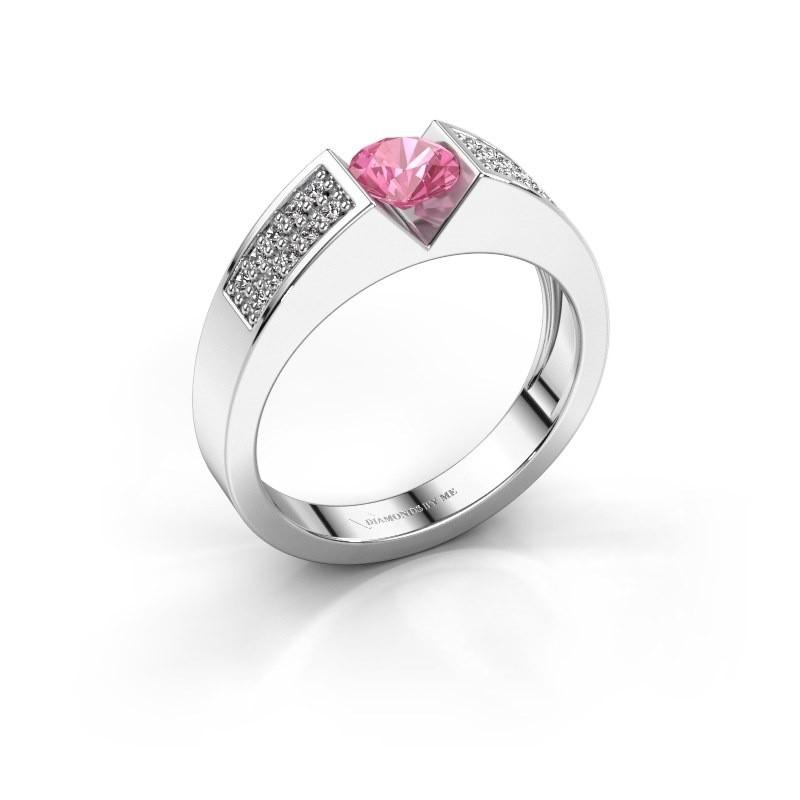 Verlovingsring Lizzy 3 925 zilver roze saffier 5 mm