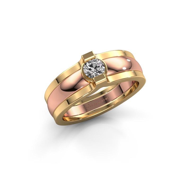 Ring Jade 585 Roségold Zirkonia 4 mm