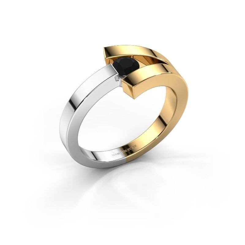 Bague Sofia 585 or jaune diamant noir 0.24 crt