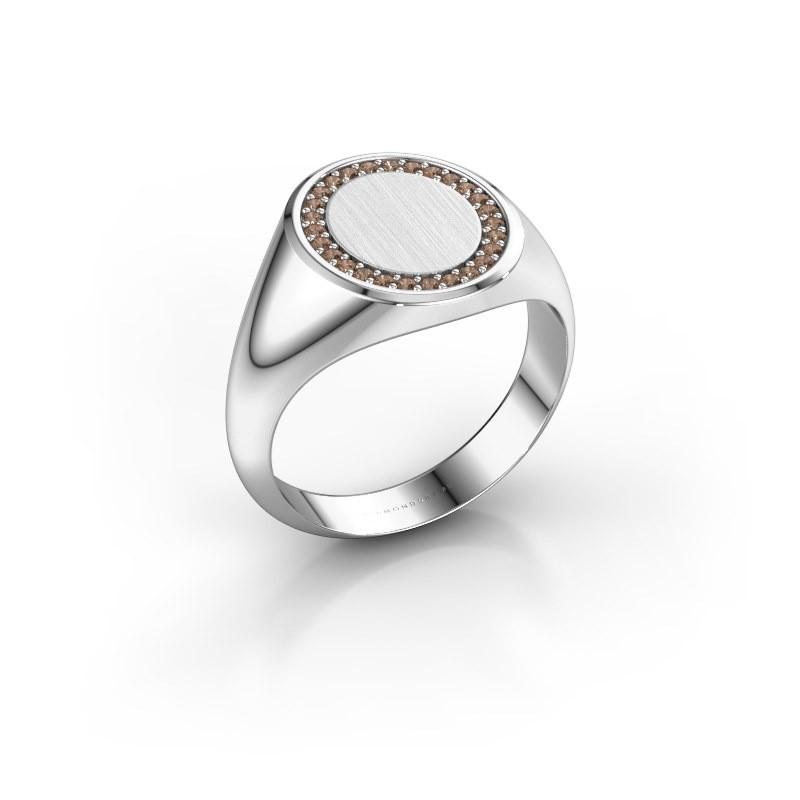 Men's ring Floris Oval 3 950 platinum brown diamond 0.203 crt