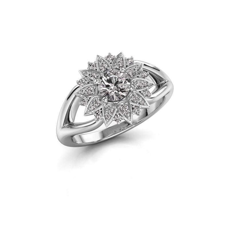 Verlovingsring Chasidy 1 585 witgoud diamant 0.50 crt