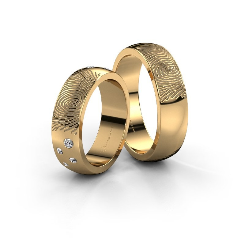 Wedding rings set WHR0423LM ±6x2 mm 14 Carat gold diamond 0.03 crt