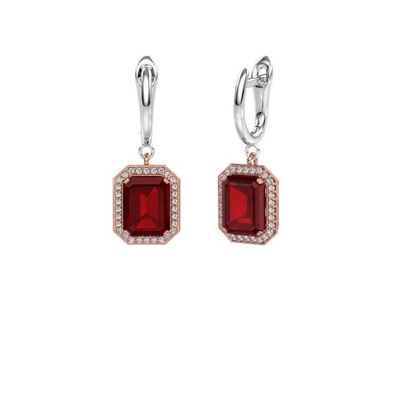 Drop earrings Dodie 1 585 rose gold ruby 9x7 mm