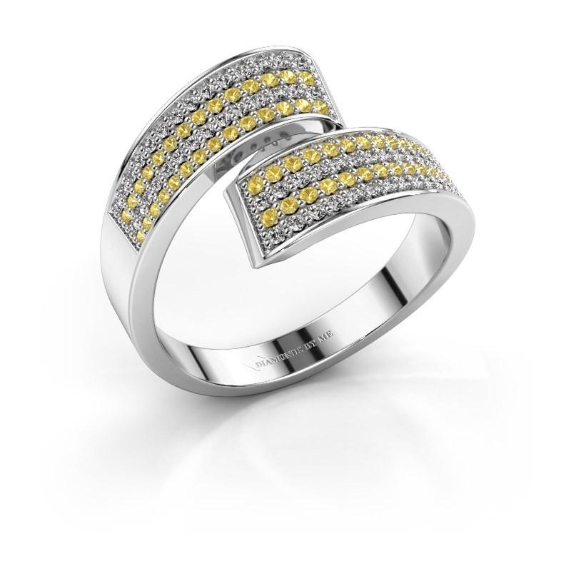 Ring Athena 585 witgoud gele saffier 1 mm