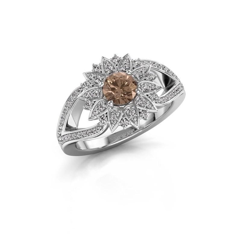 Aanzoeksring Chasidy 2 950 platina bruine diamant 0.50 crt