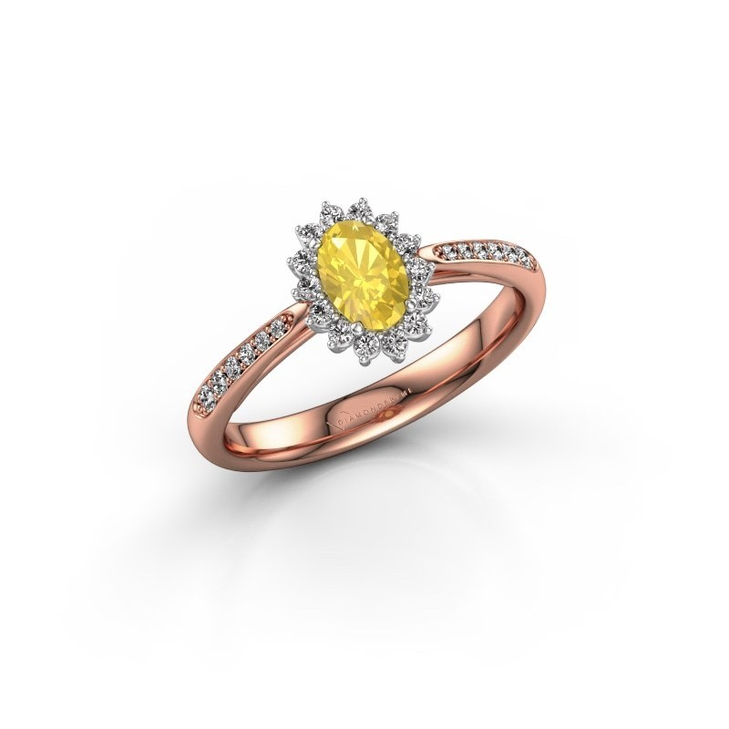 Verlovingsring Tilly 2 585 rosé goud gele saffier 6x4 mm