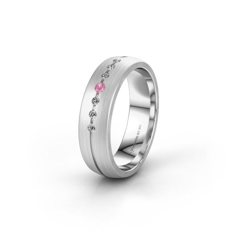 Trouwring WH0162L25A 925 zilver roze saffier ±5,5x1.7 mm