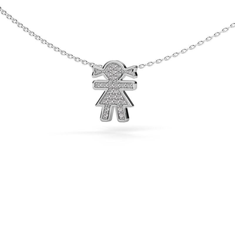 Collier Girl 925 zilver diamant 0.135 crt