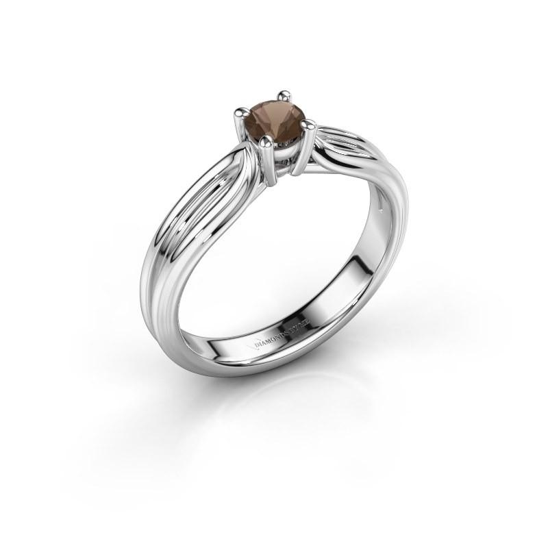 Engagement ring Antonia 1 950 platinum smokey quartz 4 mm