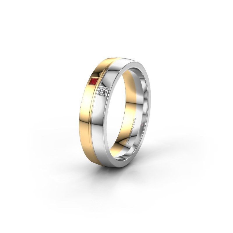 Trouwring WH0231L25BP 585 goud robijn ±5x2 mm