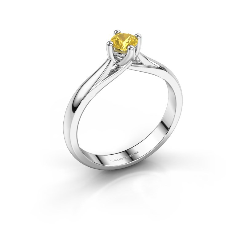 Bague de fiançailles Janne 585 or blanc saphir jaune 4.2 mm