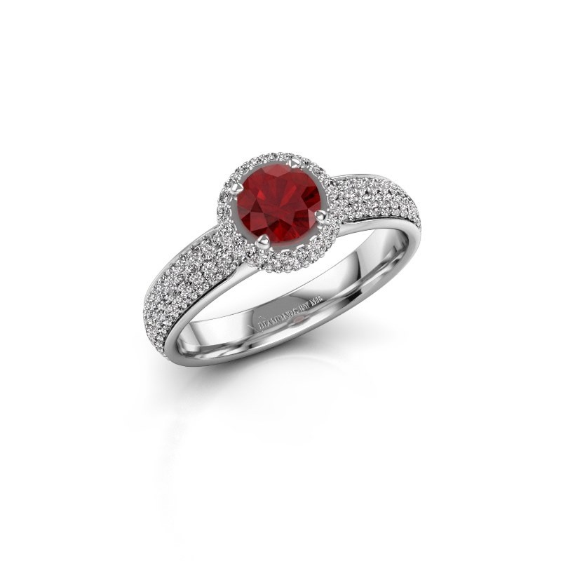 Engagement ring Mildred 925 silver ruby 5 mm