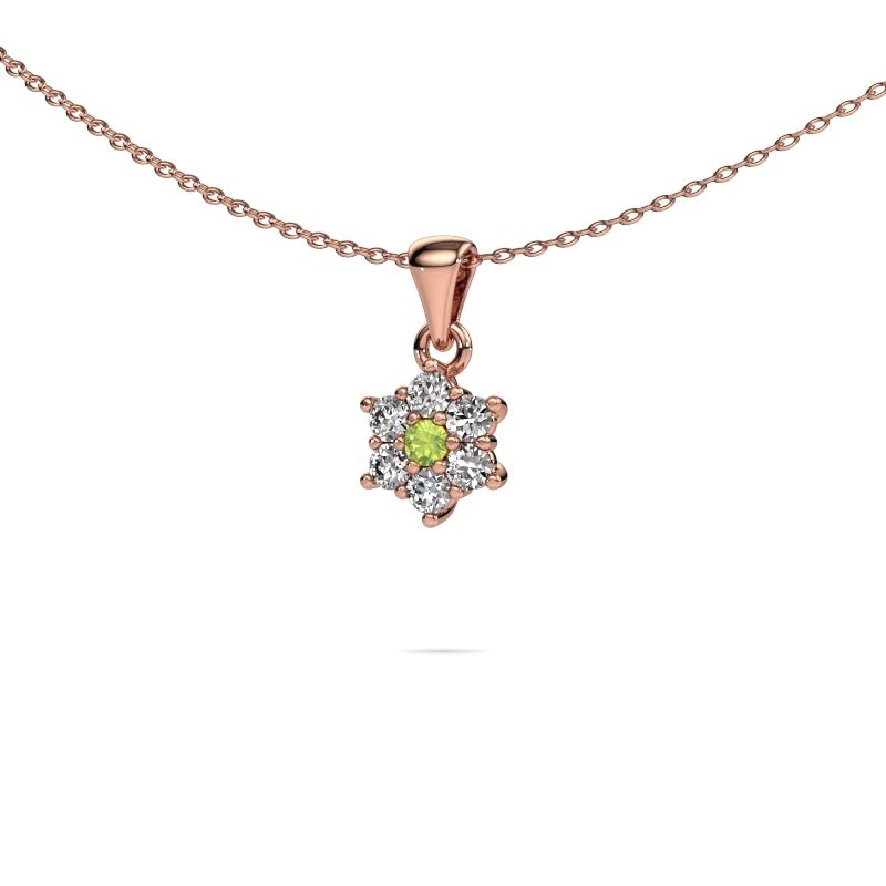 Ketting Chantal 375 rosé goud peridoot 2.4 mm
