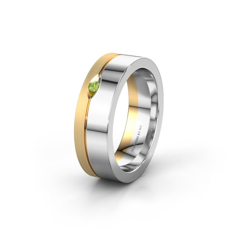 Wedding ring WH0329L16B 585 white gold peridot ±0.24x0.08 in