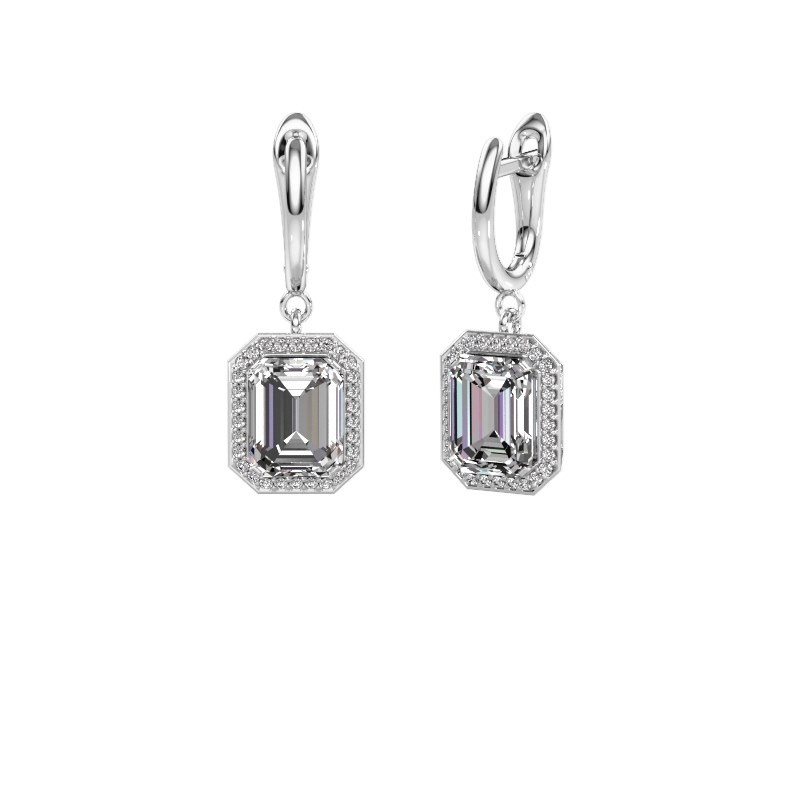 Drop earrings Dodie 1 950 platinum zirconia 9x7 mm