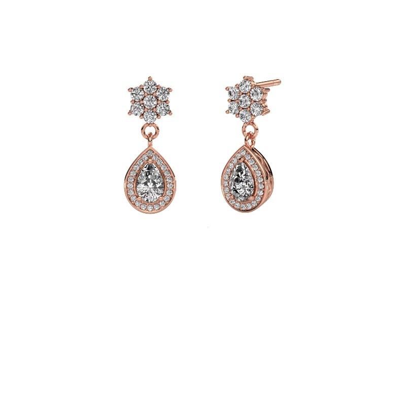 Drop earrings Era 585 rose gold zirconia 6x4 mm