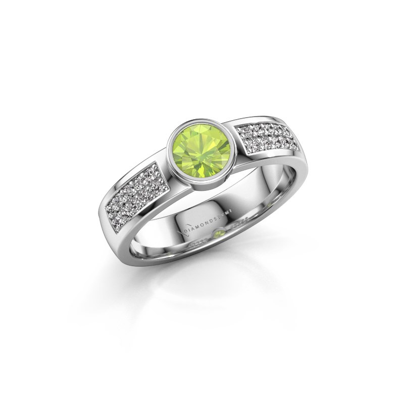 Engagement ring Ise 3 950 platinum peridot 4.7 mm