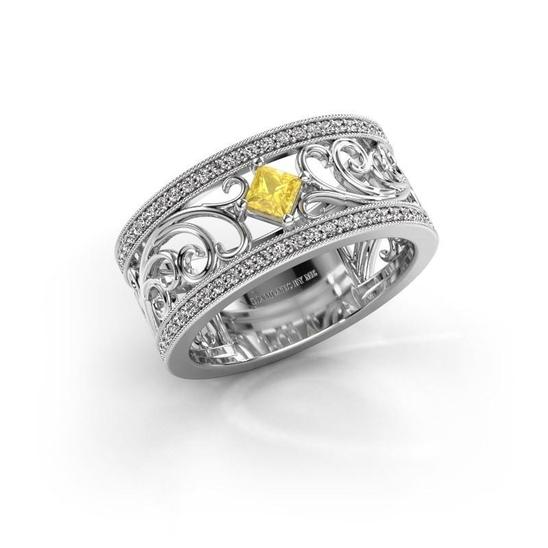 Ring Danae 925 silver yellow sapphire 3 mm