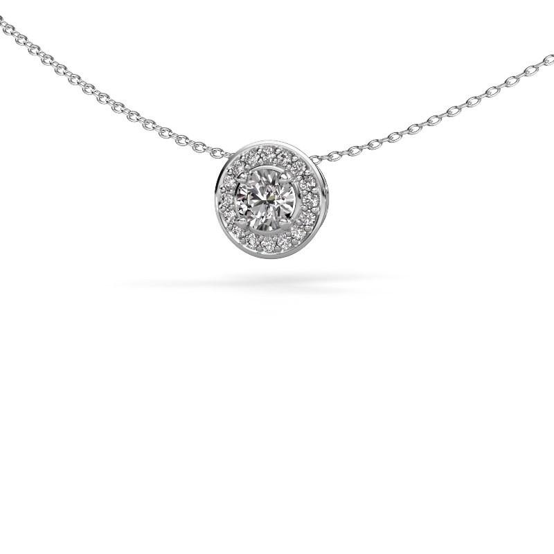 Hanger Agaat 585 witgoud diamant 0.66 crt