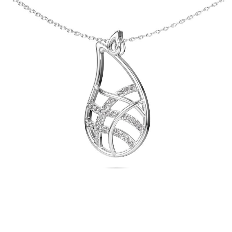 Collier Cecilia 585 witgoud diamant 0.135 crt