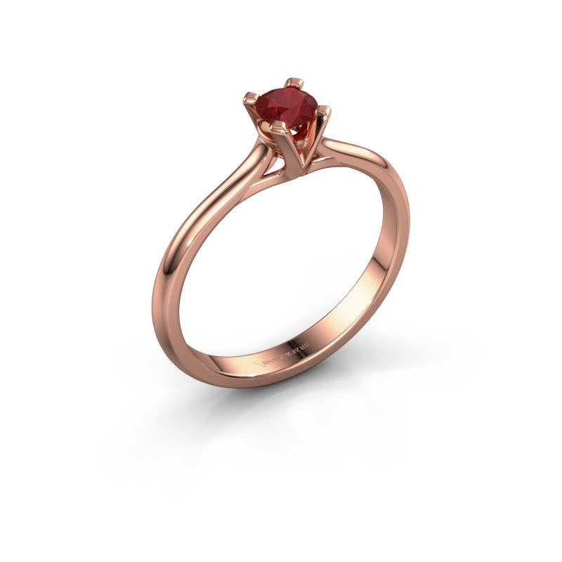 Verlovingsring Isa 1 585 rosé goud robijn 4 mm