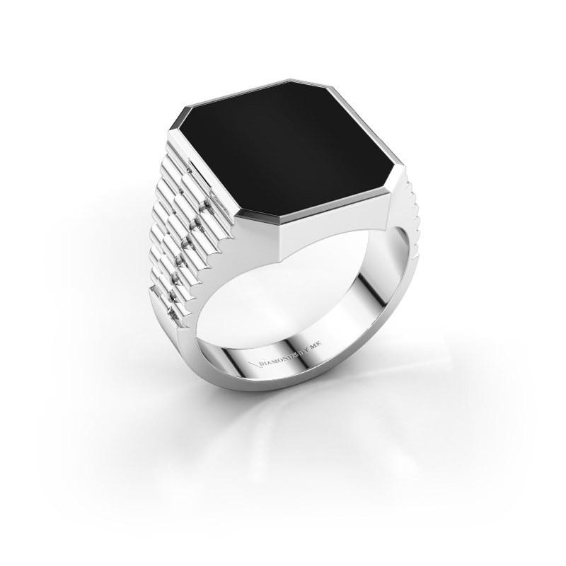 Rolex stijl ring Brent 4 585 witgoud onyx 16x13 mm