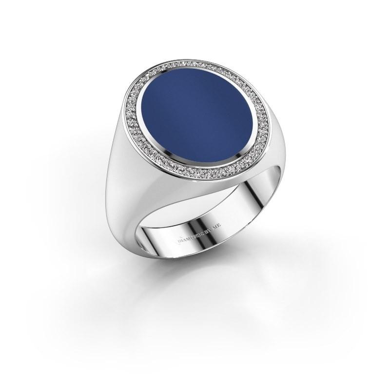 Signet ring Adam 4 585 white gold lapis 15x12 mm
