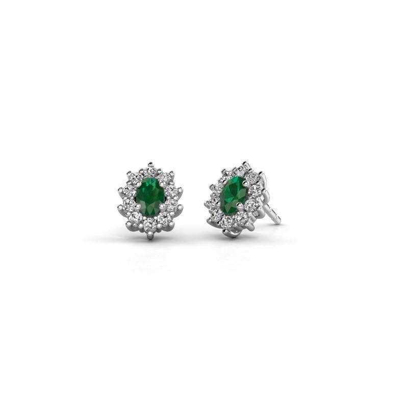Oorbellen Leesa 585 witgoud smaragd 6x4 mm