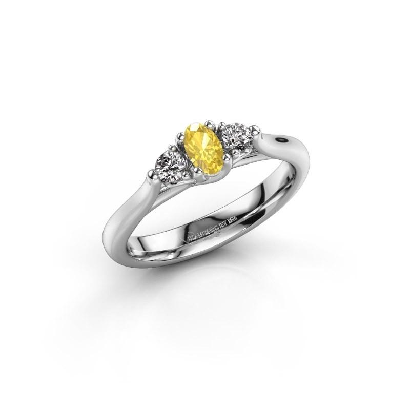 Verlovingsring Jente OVL 585 witgoud gele saffier 5x3 mm
