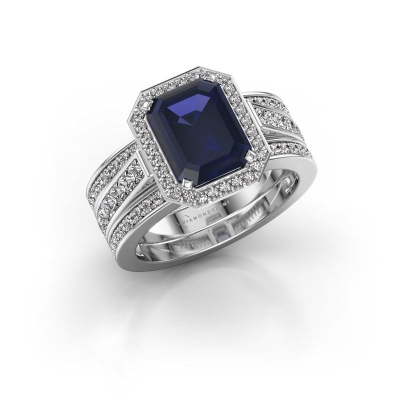 Ring Dodie 3 925 zilver saffier 9x7 mm