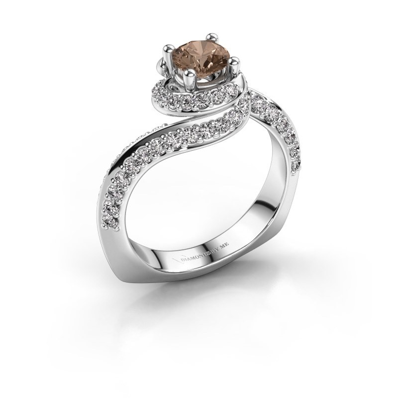 Engagement ring Sienna 950 platinum brown diamond 1.221 crt