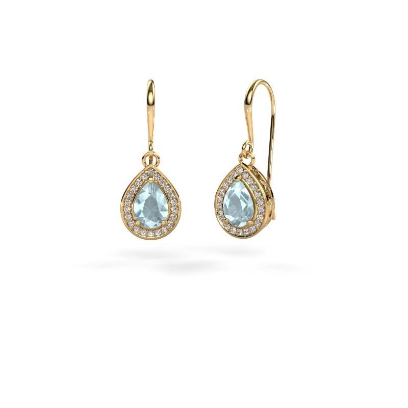 Drop earrings Beverlee 1 375 gold aquamarine 7x5 mm