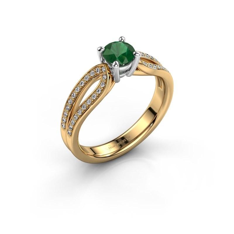 Verlovingsring Antonia 2 585 goud smaragd 5 mm
