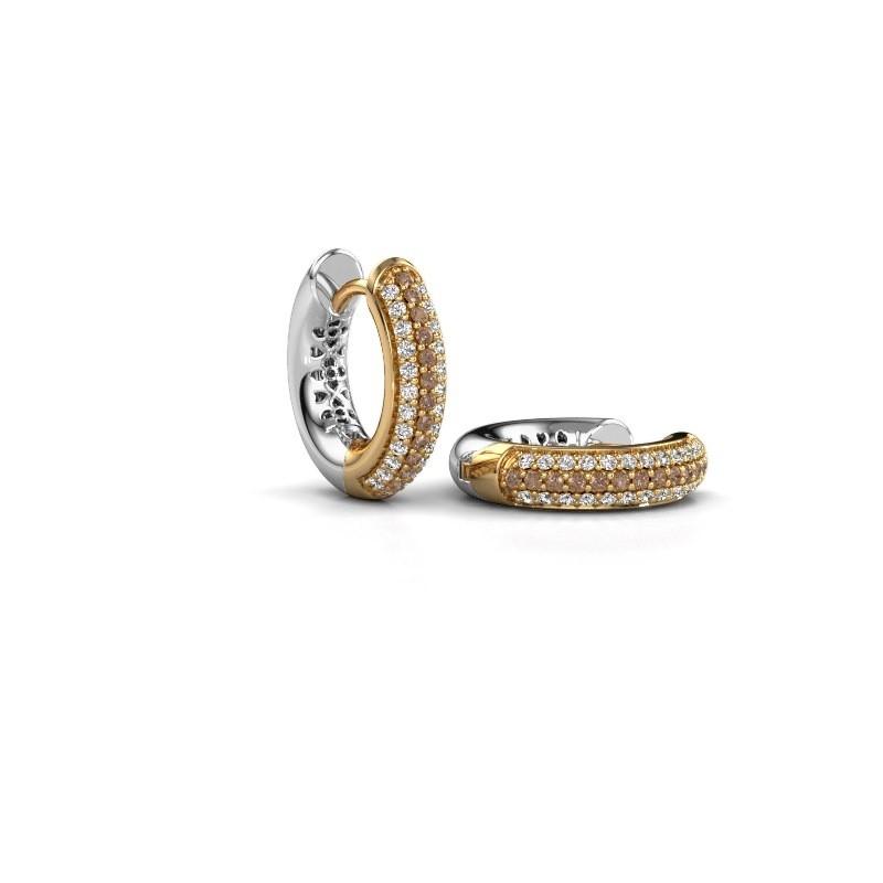 Creolen Tristan B 14 mm 585 goud bruine diamant 0.322 crt