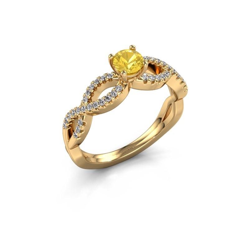 Verlovingsring Hanneke 375 goud gele saffier 4.7 mm