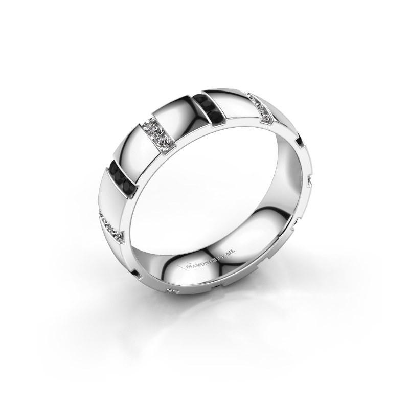 Bague de mariage Juul 585 or blanc diamant noir ±5x1.8 mm
