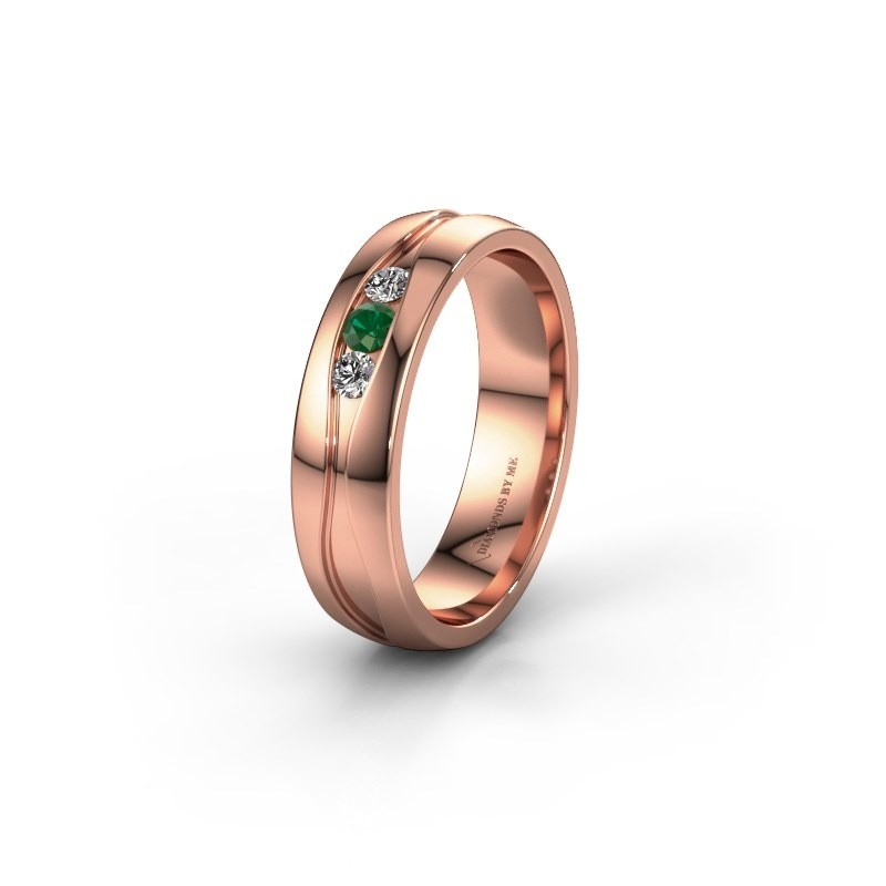 Wedding ring WH0172L25A 375 rose gold emerald ±5x1.7 mm