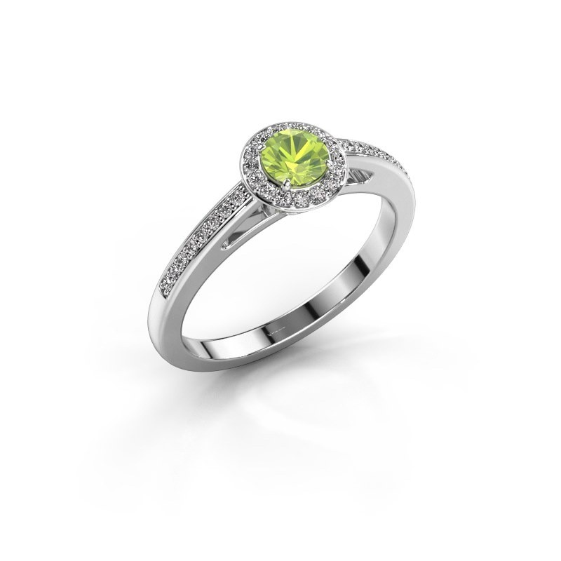 Engagement ring Aaf 950 platinum peridot 4.2 mm