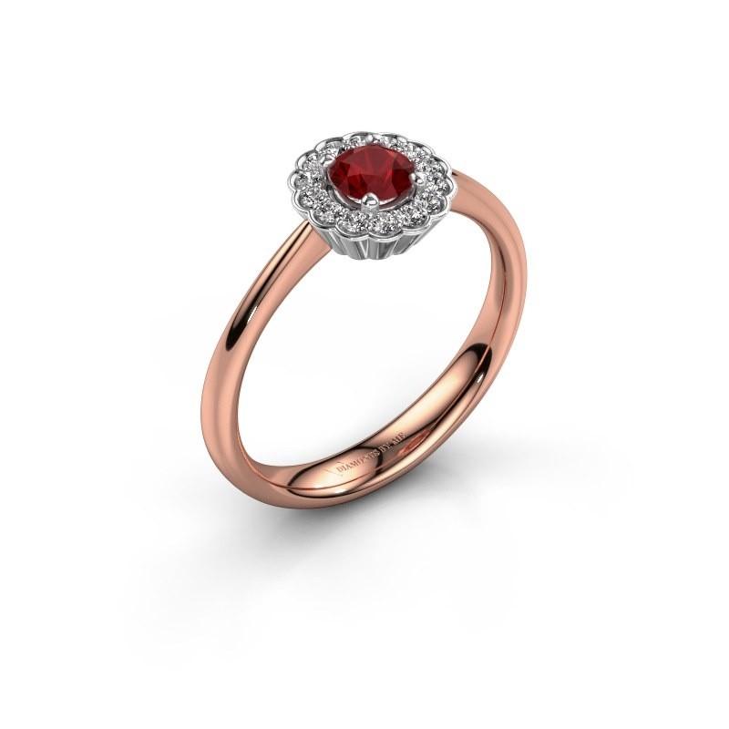 Verlovingsring Debi 585 rosé goud robijn 4.2 mm