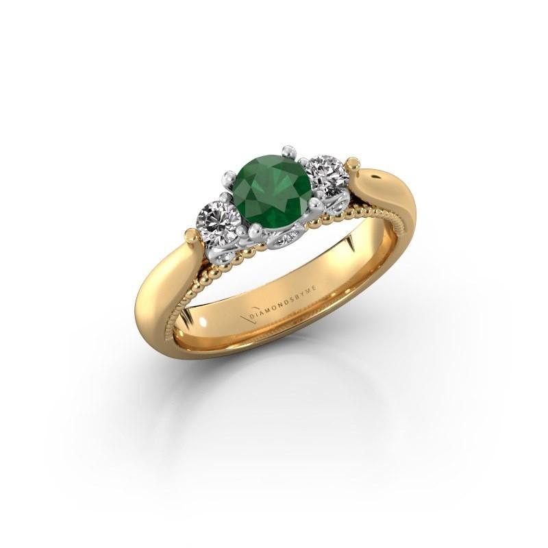 Verlovingsring Tiffani 585 goud smaragd 5 mm