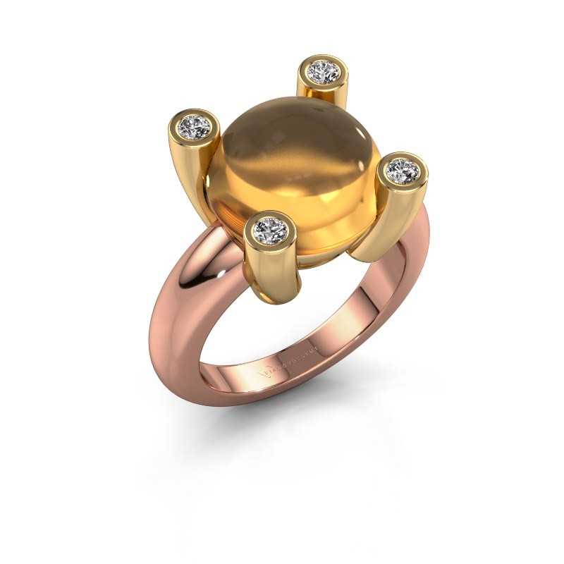 Ring Janice RND 585 rosé goud citrien 12 mm