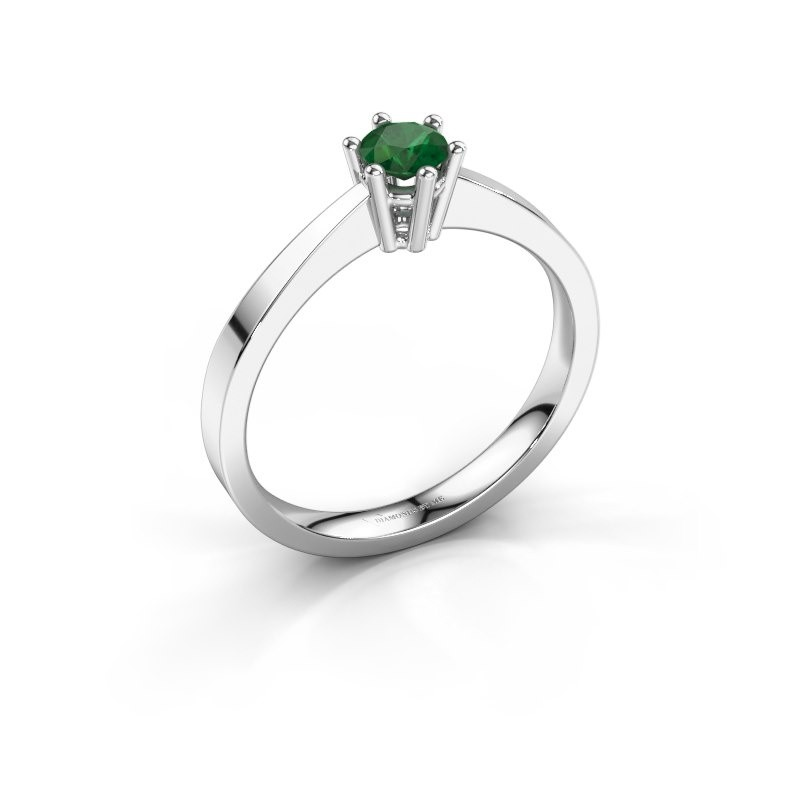 Engagement ring Noortje 585 white gold emerald 4 mm