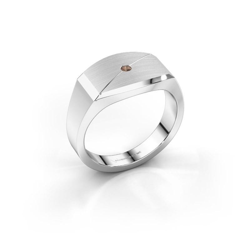 Heren ring Joe 5 925 zilver bruine diamant 0.03 crt